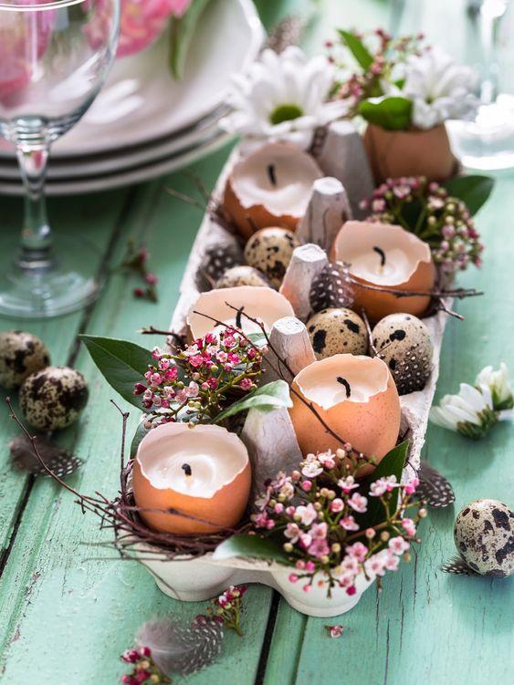 paastafel dekken, eierschalen kaarsen, zelf kaarsen maken, diy kaars, pasen, paasdagen